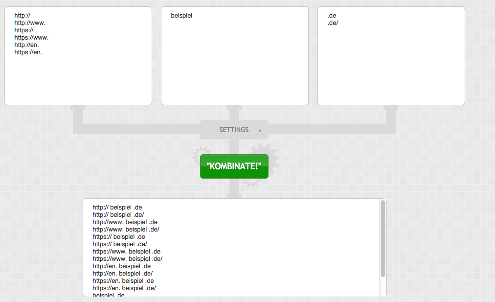 Keyword Kombinator für http status check